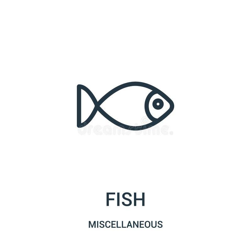 fisksymbolsvektor från diverse samling Tunn linje illustration för vektor för fisköversiktssymbol Linjärt symbol för bruk på reng royaltyfri illustrationer