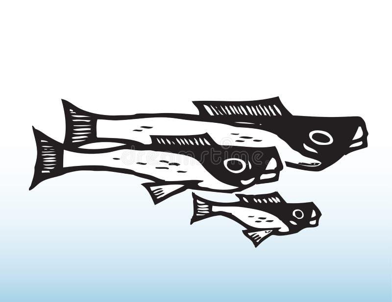 Fiskteckning royaltyfri illustrationer
