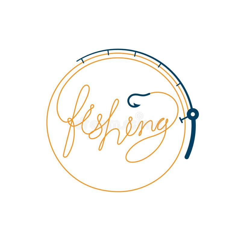Fisktext som göras från form för metspöramcirkel, apelsinen för fastställd design för logosymbol och mörker - blå färgillustratio stock illustrationer