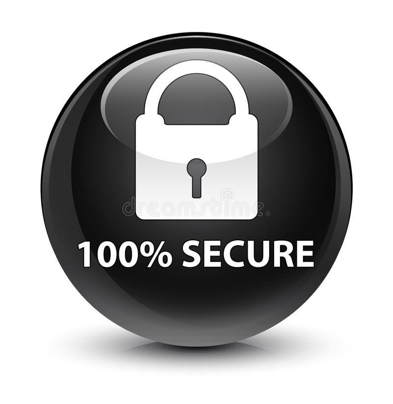 100% fissa il bottone rotondo nero vetroso illustrazione vettoriale