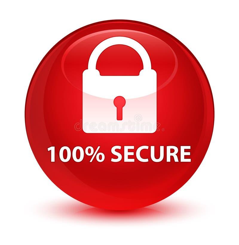 100% fissa il bottone rotondo rosso vetroso royalty illustrazione gratis