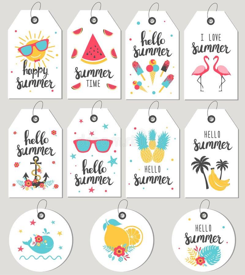 Fissi ciao l'estate Etichette e carte del regalo royalty illustrazione gratis