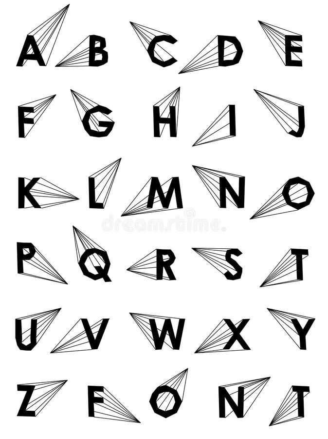 Fissi fonte bassa dell'alfabeto di vettore la poli con ombra illustrazione di stock