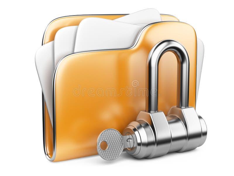 Fissi gli archivi. Cartella con la chiave. royalty illustrazione gratis