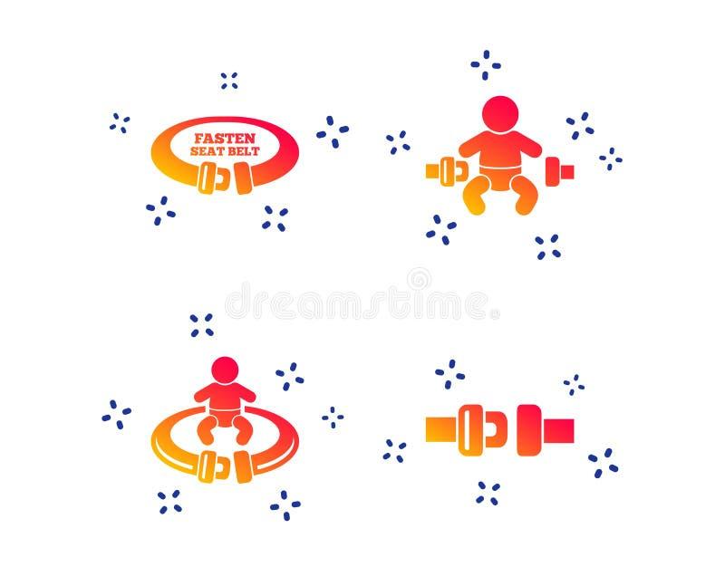 Fissi i segni della cintura di sicurezza Sicurezza del bambino nell'incidente Vettore illustrazione di stock