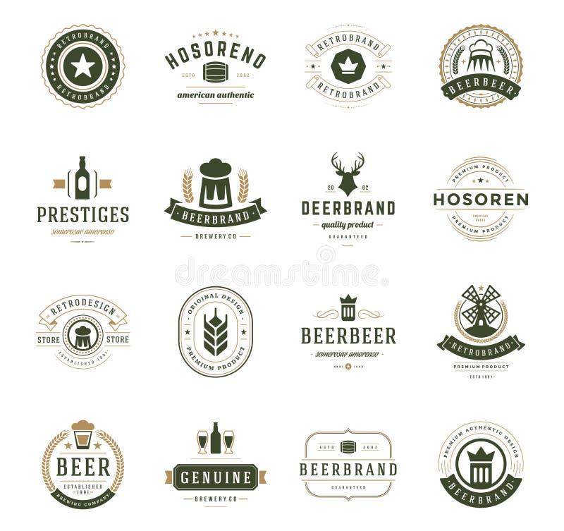 Fissi il logos della birra, i distintivi e lo stile dell'annata delle etichette royalty illustrazione gratis