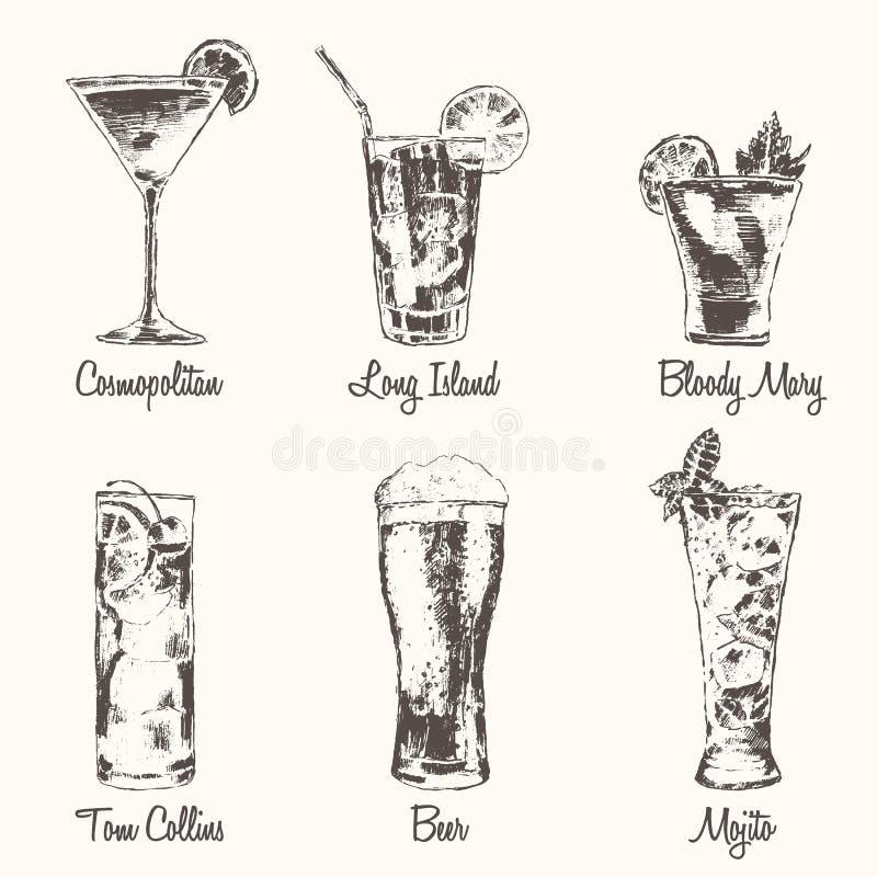 Fissi il vettore cosmopolita di Mojito della birra del cocktail spillato illustrazione vettoriale