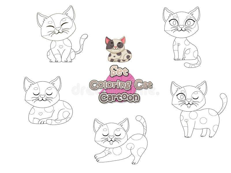 Fissi la coloritura del gatto sveglio del fumetto Gioco educativo per i bambini Illustrazione di vettore con la pagina animale di illustrazione di stock