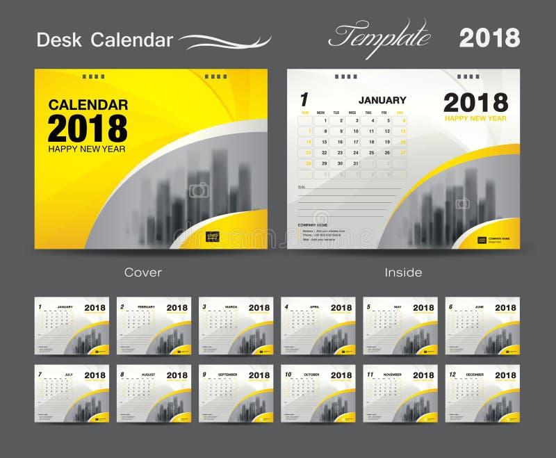 Fissi la progettazione 2018, copertura del modello del calendario da scrivania di giallo illustrazione vettoriale