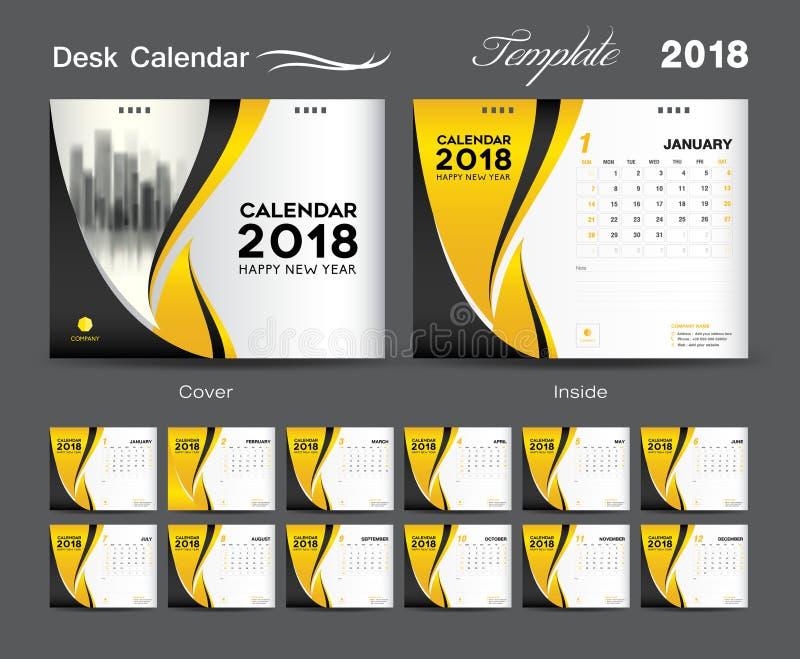 Fissi la progettazione 2018, copertura del modello del calendario da scrivania di giallo royalty illustrazione gratis