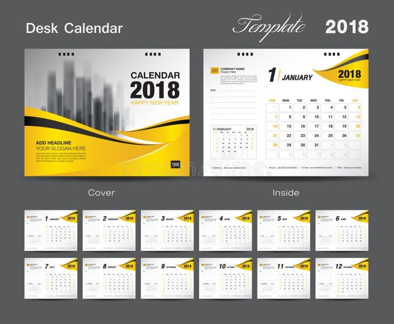 Fissi la progettazione 2018, copertura del modello del calendario da scrivania di giallo illustrazione di stock