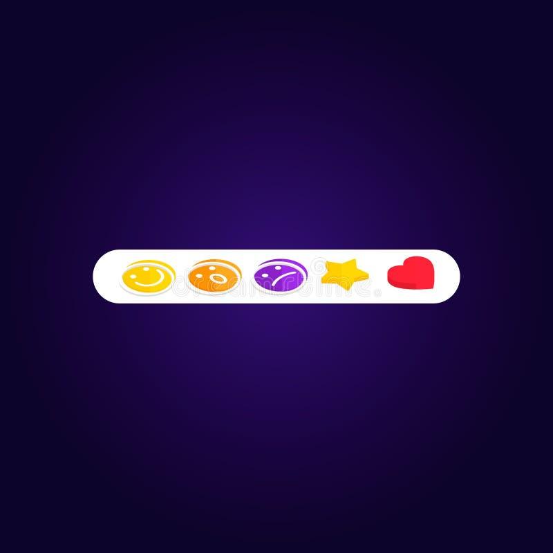 Fissi le reazioni di Emoji Facebook come l'icona sociale Bottone per l'espressione degli smiley sociali illustrazione di stock
