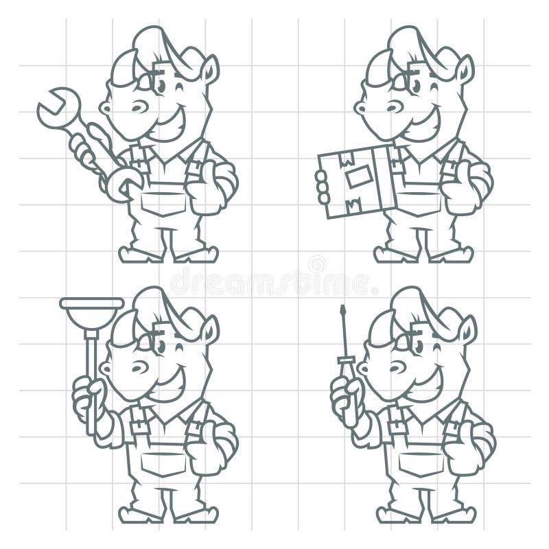 Fissi lo scarabocchio del rinoceronte del carattere royalty illustrazione gratis