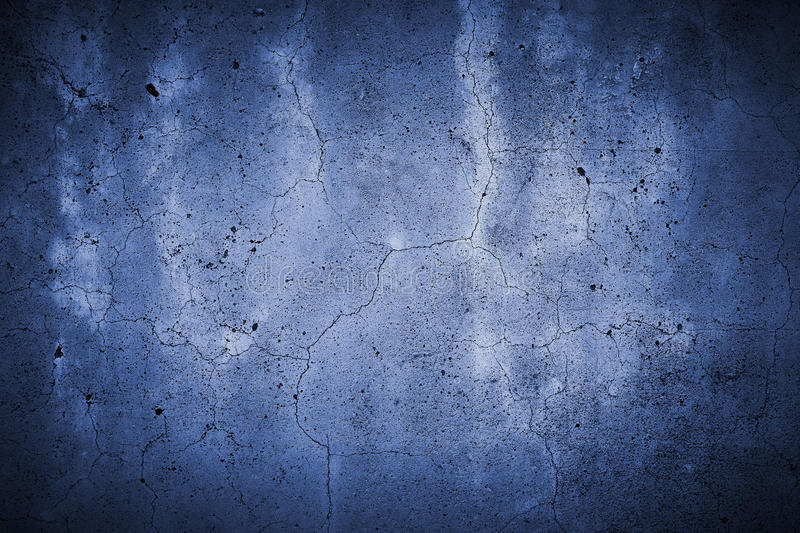 Fissured concrete wall blue royalty free stock photo