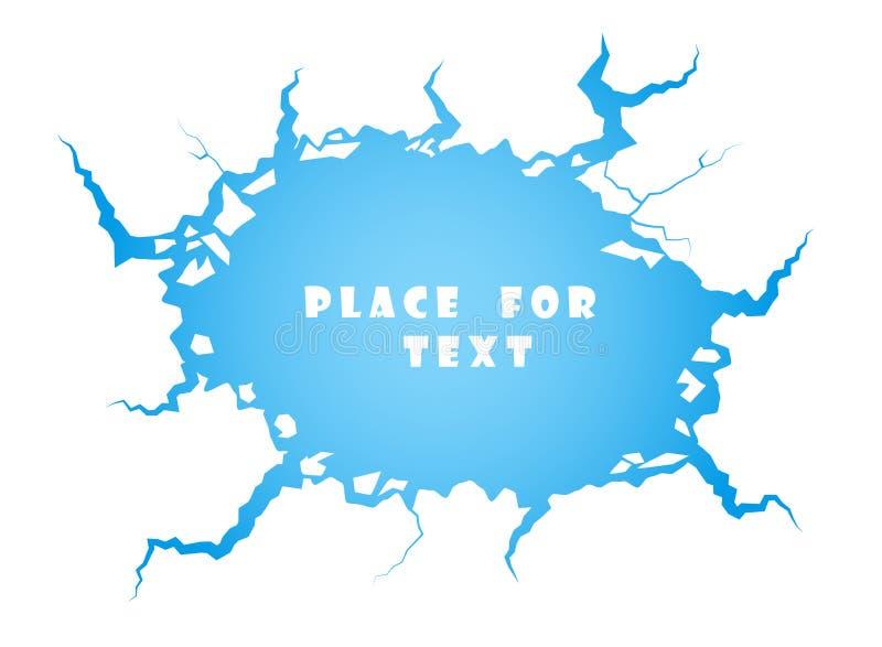 Fissures bleues de glace, l'eau La destruction, l'abîme L'espace pour l'élément de vecteur des textes d'isolement sur le fond bla illustration de vecteur