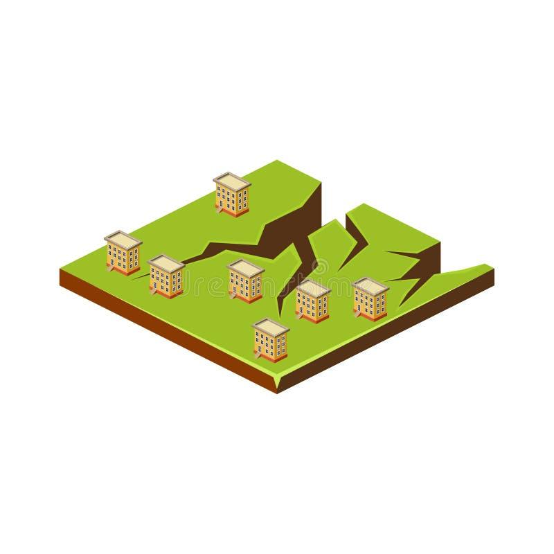 Fissures de la terre Icône de catastrophe naturelle Illustration de vecteur illustration stock