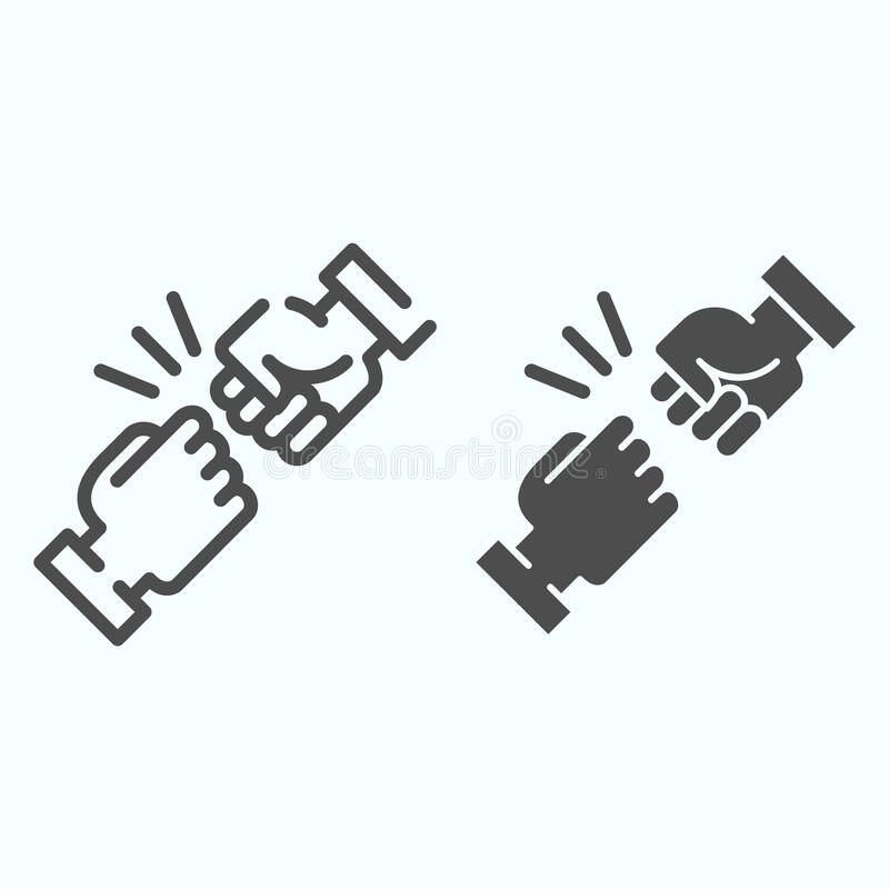 Free Fist Bump Line And Solid Icon. Friends Greeting Vector Illustration Isolated On White. Friendship Sign Outline Style Royalty Free Stock Image - 169366326