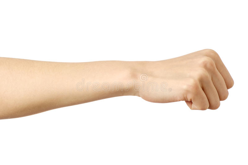 Fist caucasian woman`s hand gesture. Isolated over white royalty free stock image