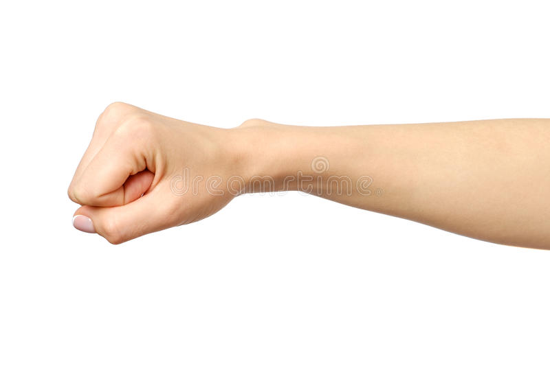 Fist caucasian woman`s hand gesture. Isolated over white stock image