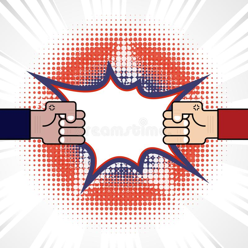 Fist & Competition.Blue & red arm.Resolving conflict or dispute. Resolution.Conflict and fighting.Business vector concept illustration royalty free illustration