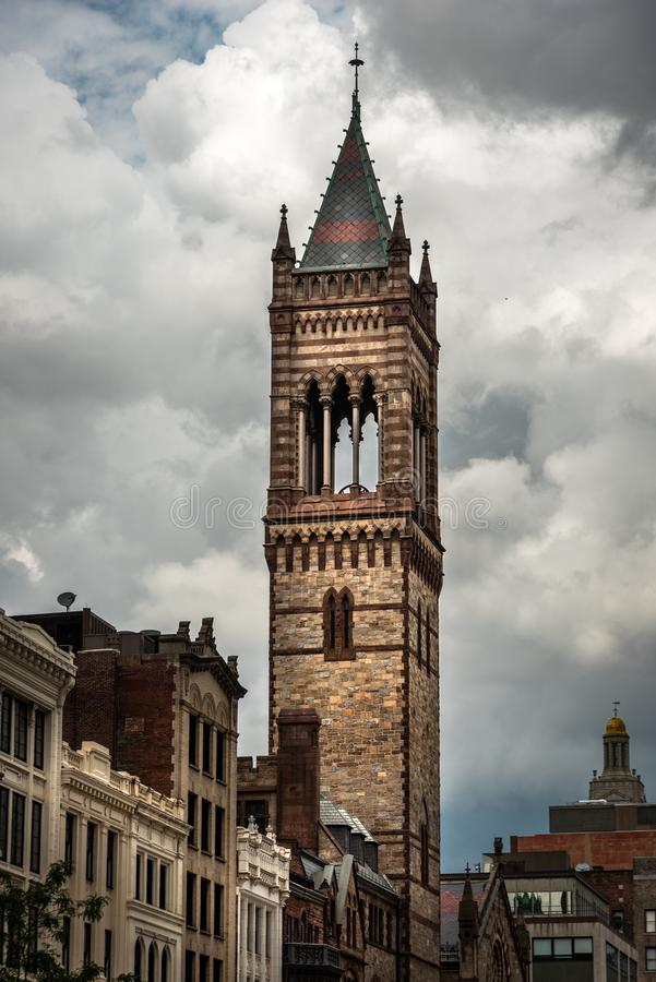 First Covenant Church Tower in Boston royalty free stock image