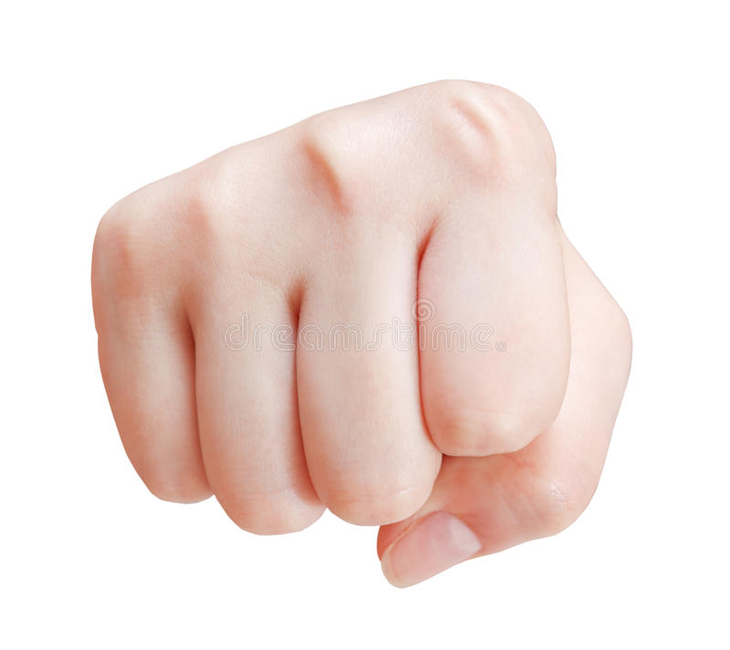 Fist cut out - hand gesture. Isolated on white background stock photo