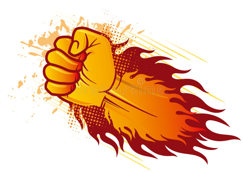 Fist and flame. Vector clenched fist and flame royalty free illustration
