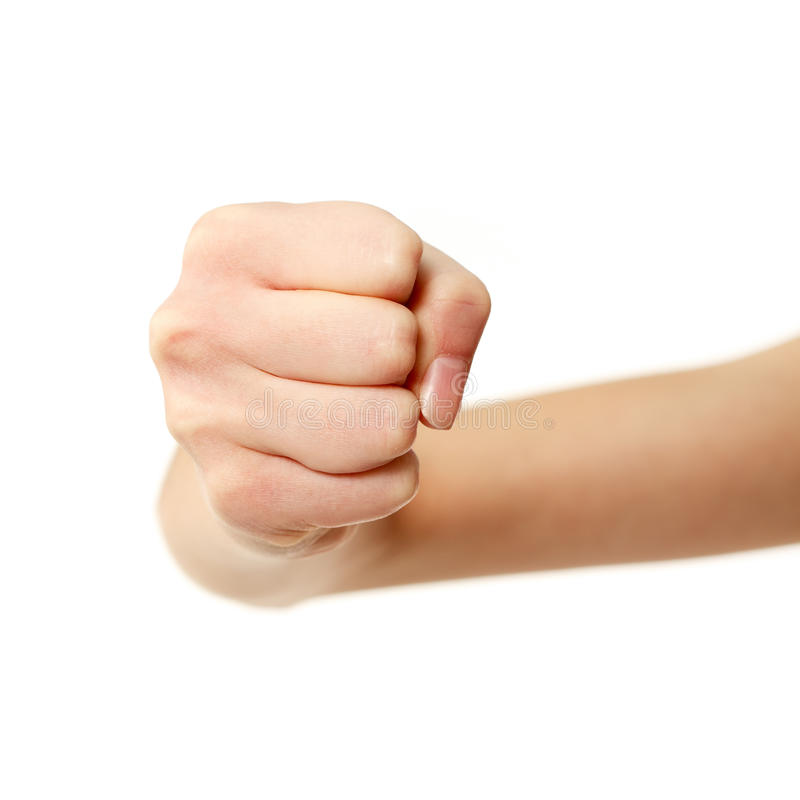 Fist Gesturing Female Hands Isolated On White Stock Photo