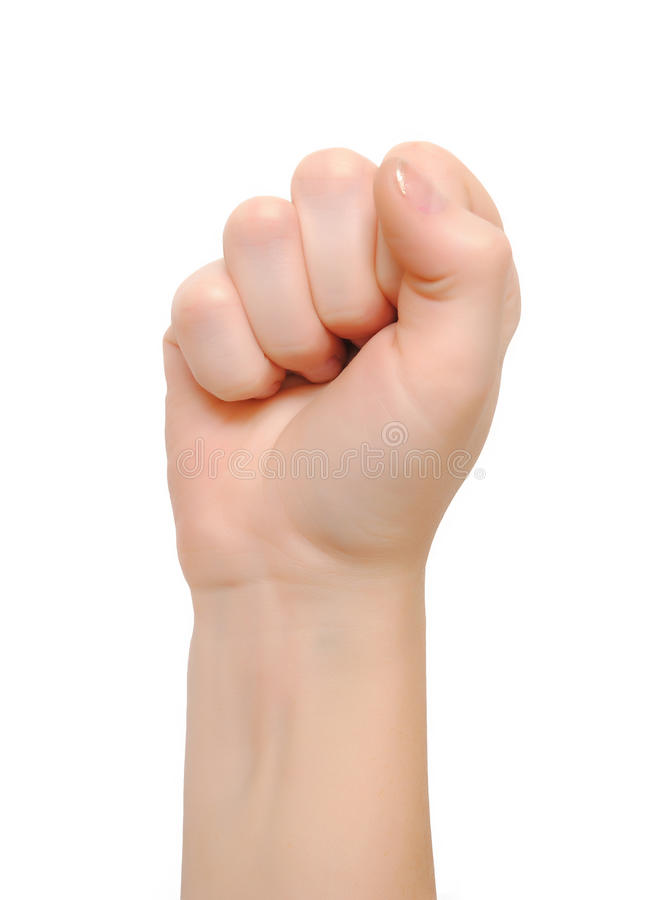 Fist hand. Isolated on white stock photos