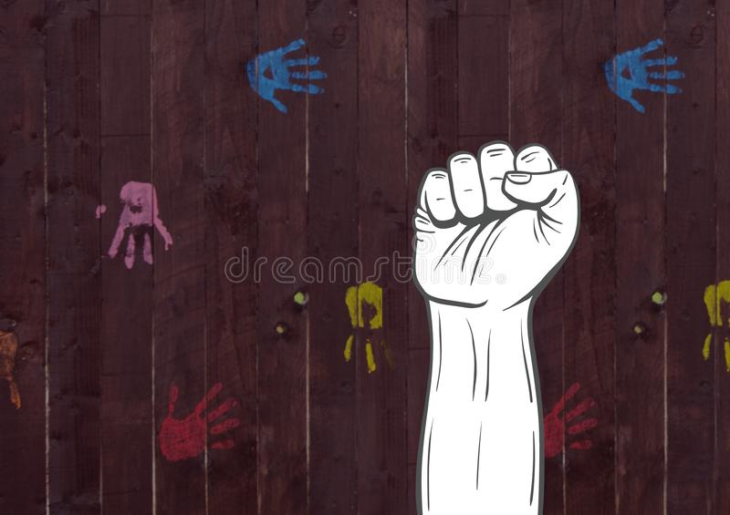 Fist hand against wooden background stock illustration