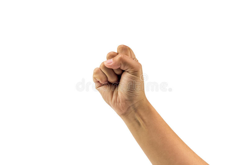 Fist hand and arm show power from person on isolated white background. Picture stock photo