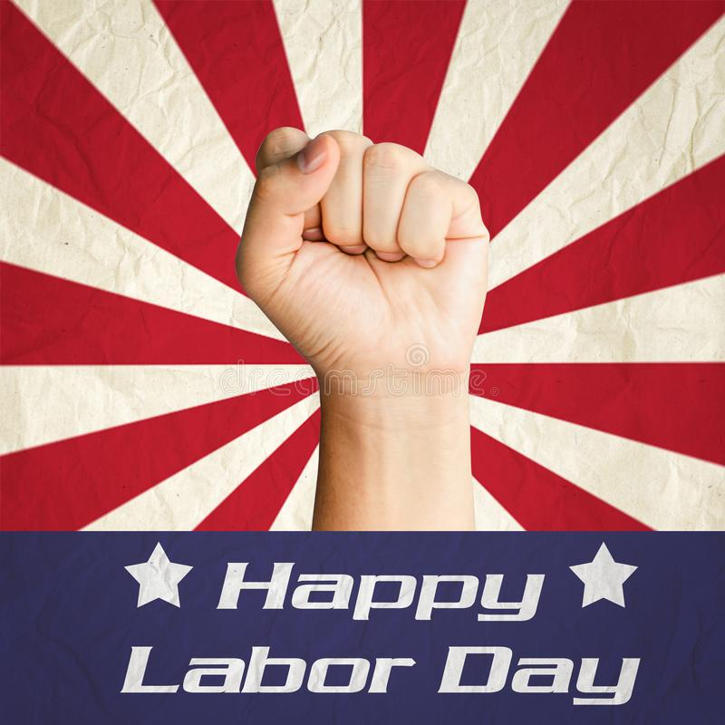 Fist hand with Happy Labor Day. United States of America flag stock image