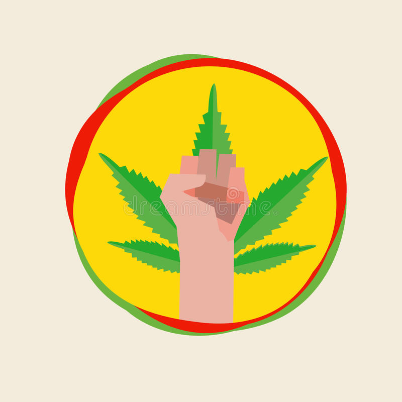 Fist hand with marijuana leaf. symbolic concpet -. Illustration royalty free illustration