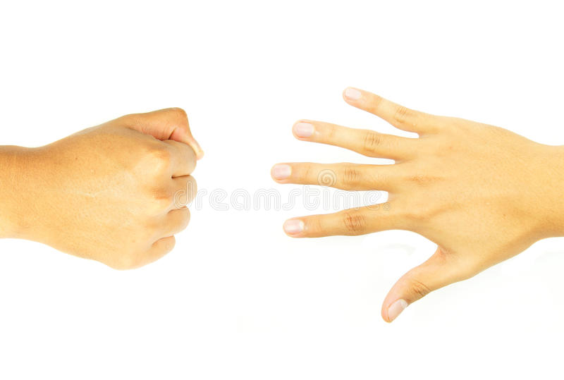 Fist hand and open hand of opposite side. On white background royalty free stock photo