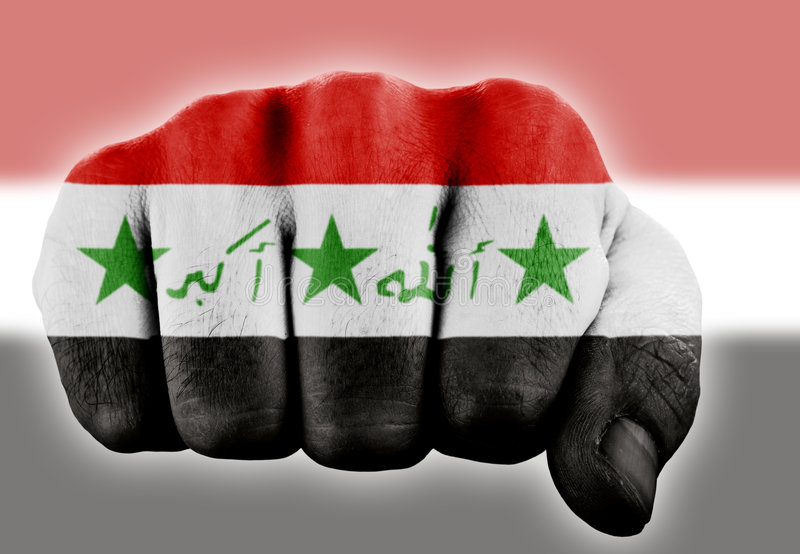 Fist with iraqi flag. Fist with digitally painted flag of iraq stock photos