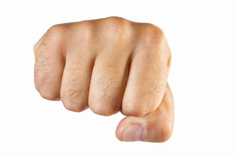 Fist isolated. Human fist isolated over white stock images