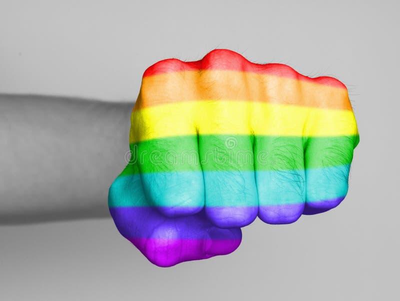 Fist of a man punching, rainbow flag pattern. Very hairy knuckles from the fist of a man punching, rainbow flag pattern royalty free stock photos