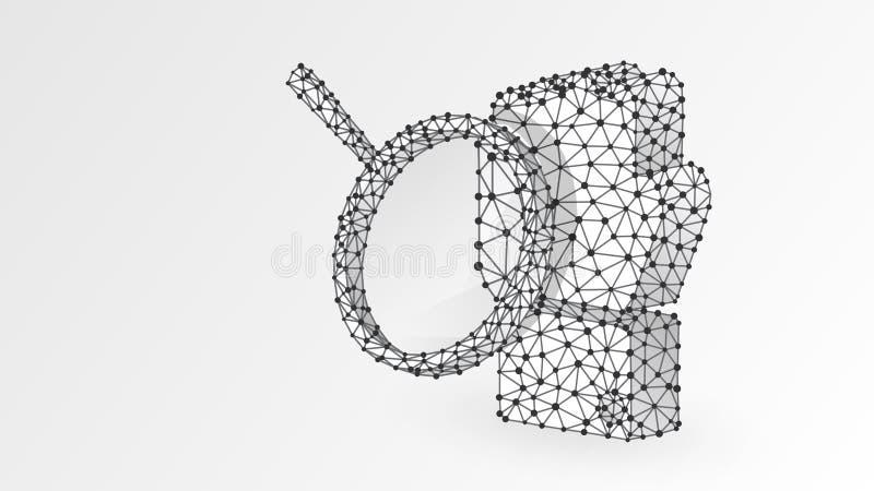 Fist-model met vergrootglas Zakelijke kracht, menselijke krachtanalyse, succesconcept Abstract, digitaal stock illustratie