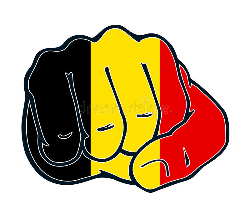 Fist nation fight belgium. Fist with colors of the country belgium stock illustration
