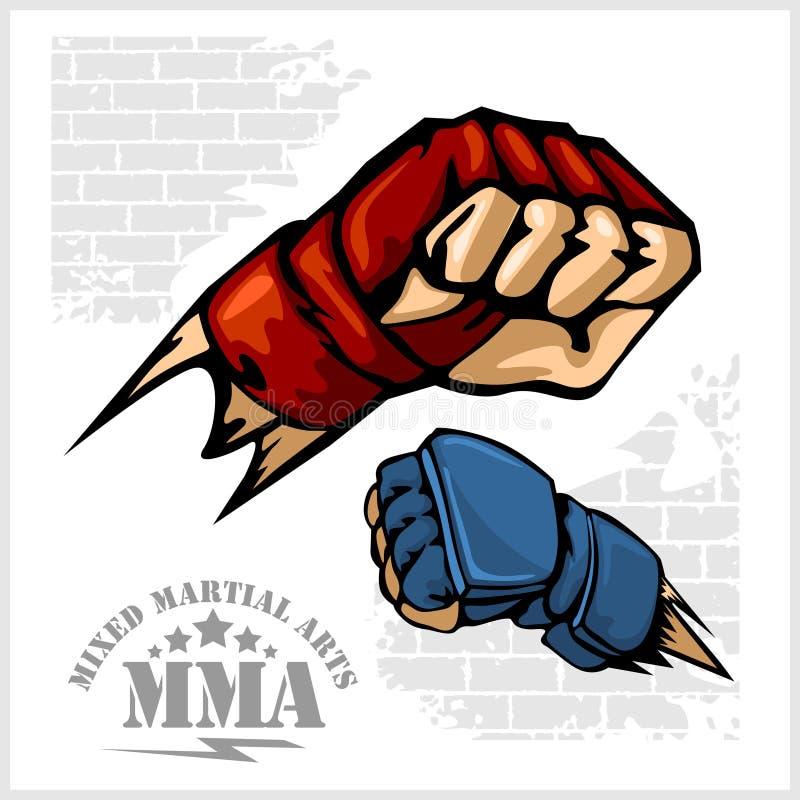 Fist punch - MMA mixed martial arts emblem badges royalty free illustration
