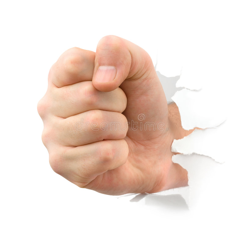Download Fist punching thru paper stock image. Image of person - 4982149