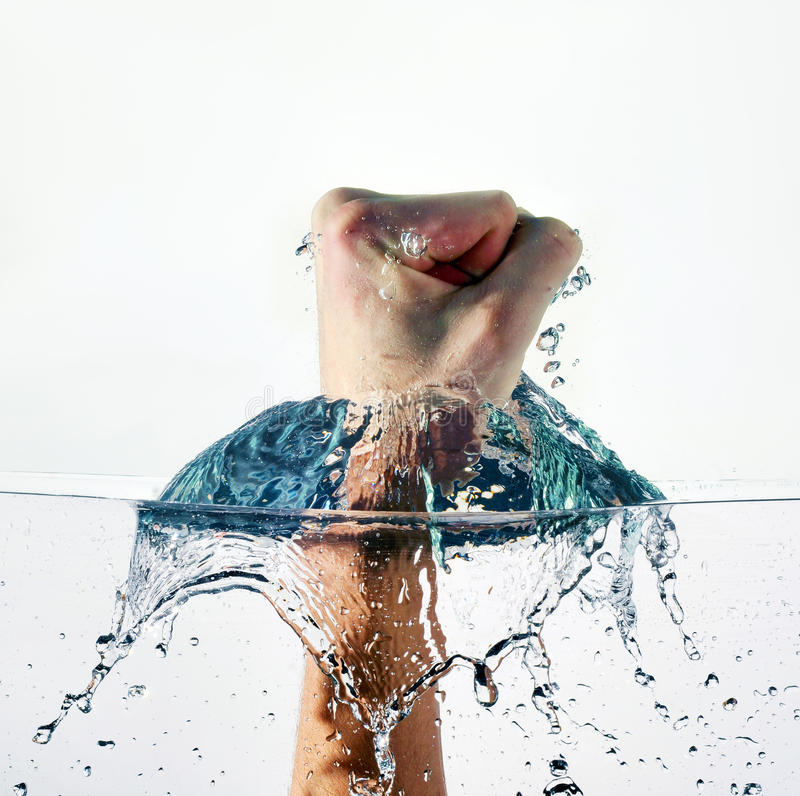 Fist Punching Water royalty free stock photos