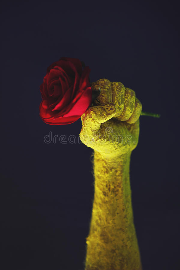 Fist red rose old propaganda poster shall not pass royalty free stock image