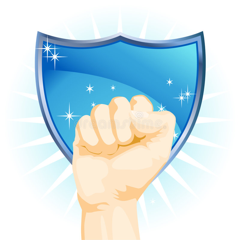Fist With Shield Stock Photos