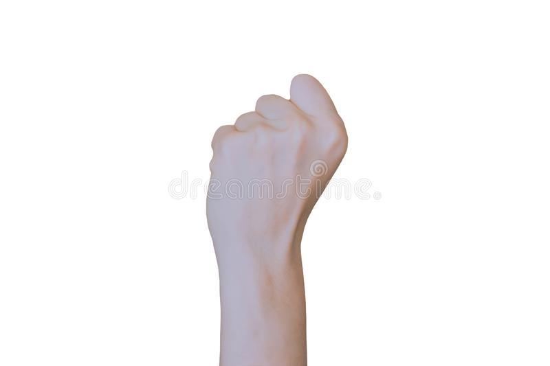 Fist strike sign ,Young woman hand isolated gesture. Close-up of human hand on white background. Isolated sign photo stock photo