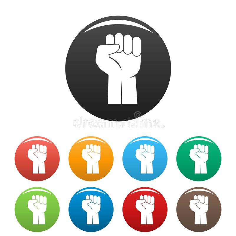 Fist up icons set color stock illustration