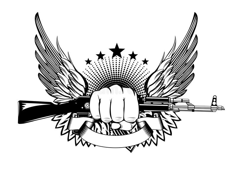 Download Fist wings and akm stock vector. Image of bullets, arms - 25875562