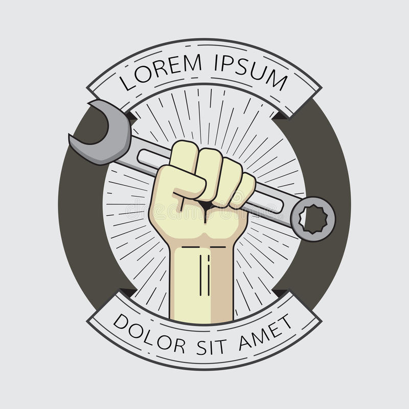 Fist with wrench logo element. vector illustration