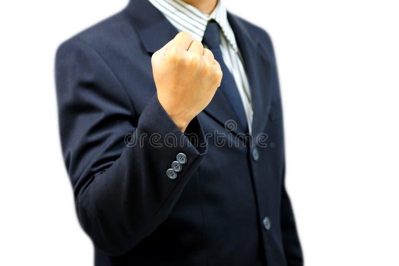 Fisting бизнесмена готовый для боя стоковая фотография rf