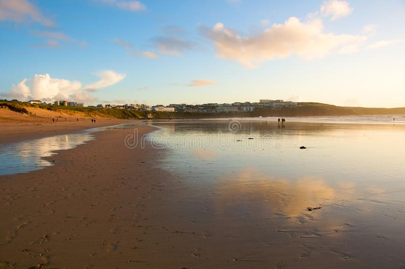 Fistral Beach. Beautiful Fistral Beach in Newquay, UK at sunset royalty free stock images